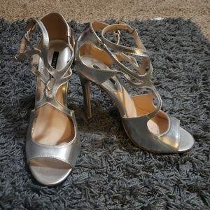 Silver strappy heels